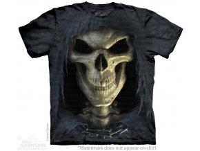 tričko, smrt, lebka, batikované, potisk, smrtka