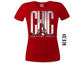 Červené dámské levné tričko s Paříží