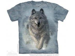 tričko, vlk, sníh, batikované, potisk, mountain