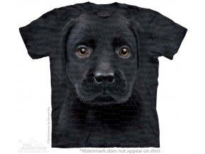 tričko-pes-štěně černého labradora-batikované-potisk-mountain