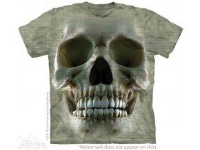 tričko, lidská lebka, 3d, potisk, batikované, mountain