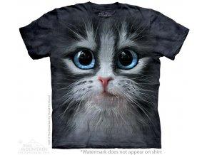 Tričko, kočka, oči, potisk, batikované, 3d