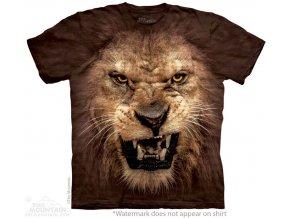 tričko-zlý lev-hnědé-batikované-potisk-mountain