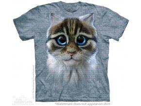 tričko, smutná kočka, kotě, potisk, batikované, mountain