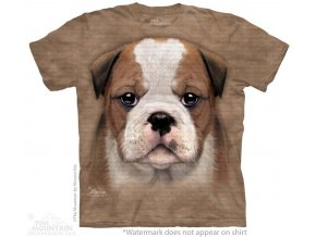 tričko-pes-štěně buldoka-batikované-potisk-mountain