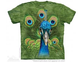 tričko, páv, zelené, batikované,  potisk, mountain