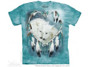 tričko, vlk, indiánské, srdce, potisk, amulet