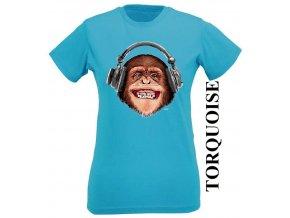 Dámské 3D vtipné tričko s potiskem opice se sluchátky