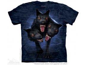 tričko, metalové, kerberos, potisk, batikované, horor