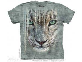tričko, bílý tygr, rampouch, batikované, potisk, mountain