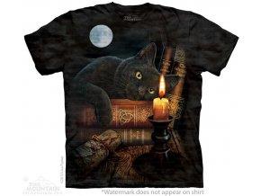 tričko, černá kočka, magie, batikované, mountain