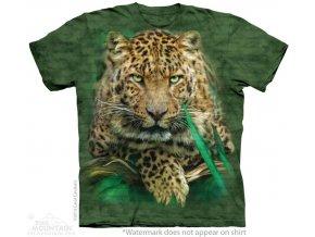 tričko, leopard, zelené, batikované, potisk, mountain