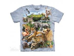 tričko, zvířata, zoo, batikované, potisk, mountain