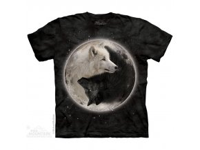 tričko, vlci, jin jang, batikované, potisk, mountain