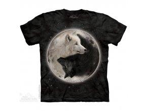 tričko-vlci-jin jang-batikované-potisk-mountain