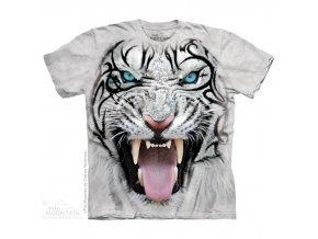 tričko, bílý tygr, 3d, batikované, potisk, vůdce