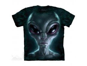 tričko, šedý mimozemšťan, sci fi, batikované, potisk, mountain