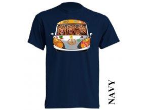 levné-tričko-tmavě_modré-potisk-opice-VW-nevidím_neslyším_nemluvím