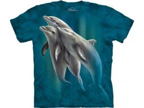 tričko, tři delfíni, modré, batikované, potisk, mountain