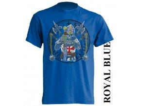 levné-tričko-modré-potisk-rytíř-templář