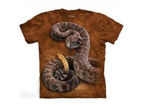 tričko, had, chřestýš, potisk, batikované, mountain
