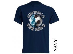 levné-tričko-tmavě_modré-potisk-fotbalový_míč-zeměkoule