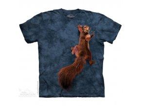 tričko, veverka, vtipné, batikované, potisk, mountain