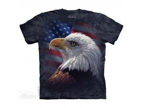 tričko, orlí hlava, usa vlajka, batikované, potisk, mountain