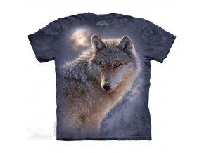 tričko-bílý vlk-potisk-batikované-mountain-modré