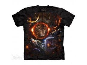 tričko, vlci, vesmír, batikované, potisk, zodiac