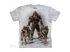tričko, viking, pes, batikované, potisk, vlk