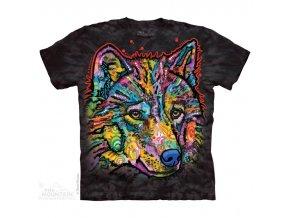 tričko, vlk, russo, batikované, potisk, mountain