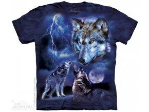 tričko, vlci, bouře, batikované, potisk, měsíc