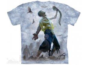 Tričko zombie lebka pánské potisk batikované