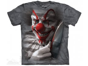 tričko, metalové, klaun, potisk, batikované, horor