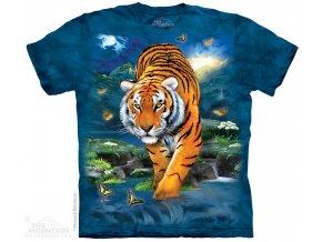 tričko, tygr bengálský, modré, batikované,  potisk, mountain