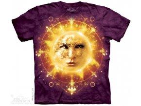 tričko, slunce, zodiak, batikované, potisk, magie