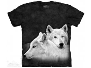 tričko, bílý vlk, černé, batikované, potisk, mountain