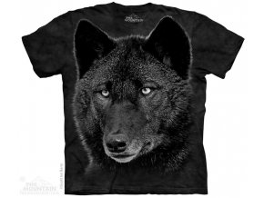 batikovane tricko potisk cerny vlk