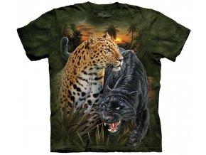 tričko, černý jaguár, leopard, batikované,  potisk, mountain