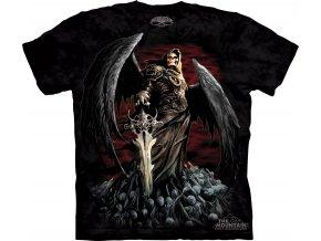 tričko, anděl smrti, lebky, batikované, potisk, meč