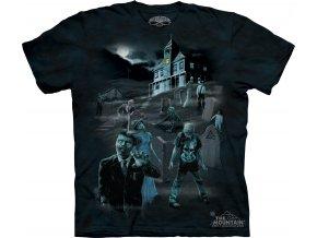 tričko, zombie, duch, batikované, potisk, svítící