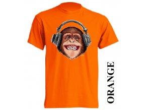3d-tricko-oranzove-potisk-opice-sluchatka