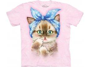 tričko, kočka, kotě, potisk, batikované, hospodyňka