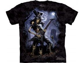 tričko, kytarista, hřbitov, batikované, potisk, metalové