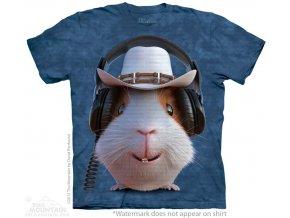 tričko, morče, sluchátka, potisk, klobouk, dětské