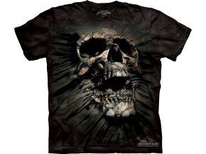 tričko, lebka, černé, batikované, potisk, mountain