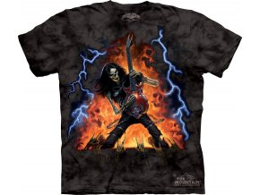 tričko, kytarista, metalové, batikované,  potisk, oheň