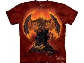 tričko, drak, plamen, batikované, potisk, 5XL