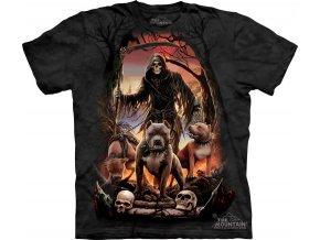 tričko, pes, smečka, batikované, potisk, smrt